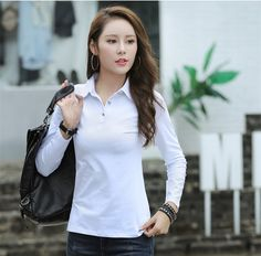 f4f3643e2d0 2018 Autumn Winter New Women Plus Size Polo Shirts Casual Turndown Neck  Cotton Long Sleeve Solid Tops