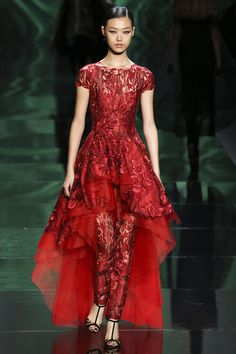 red evening dress by monique lhuillier from fall 2013 ready to wear fashion show