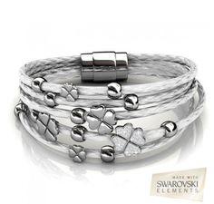 a58d018c9 Destiny Jewellery Embellished with crystals from Swarovski bracelet Clover leather  bracelet pulseira feminina