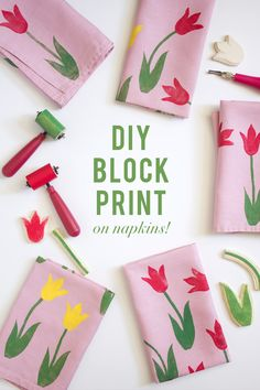 DIY Block Print Tulip Napkin: Gifts that are just as beautiful as they are useful are the *best* kinds of gifts. DIY a tulip stamp using this tutorial and get ready to make your mom's new favorite set of napkins.
