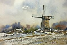 video Painting a windmill in wintertime Watercolor Landscape, Watercolor Art, Conceptual Art, Winter Time, Dutch, Windmills, Watercolours, Drawing Ideas, Drawings
