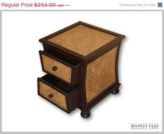 On Sale Asian style bedside table with two drawers by SiamStyles, $229.50