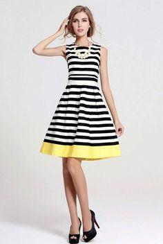Zeagoo Women's Summer Sleeveless Knee Length Striped A Line Dress: Amazon.co.uk: Clothing