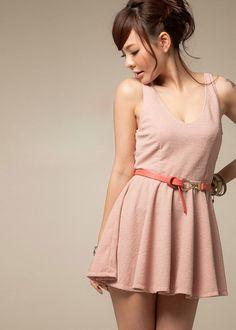 Graceful V Collar Bare-back Zipper Sleeveless Dress Pink