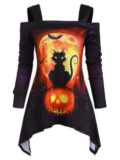 Halloween Cat Pumpkin Open Shoulder Asymmetrical T-shirt - MULTI - Plus Size Halloween, Halloween Cat, Halloween Costumes, Cheap Halloween, Halloween Dress, Cool Outfits, Fashion Outfits, Womens Fashion, Cute Dresses