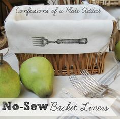 There's something about a liner that makes a plain basket seem so much fancier. Over at Confessions of a Plate Addict, you can find out how to make a liner for any rectangular basket. Diy Sewing Projects, Sewing Crafts, Diy Crafts, Sewing Tips, Craft Projects, Decoupage, Rectangular Baskets, Kitchen Baskets, Kitchen Ideas