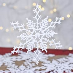 White Glitter Snowflake Ornaments - Snow - Snowflakes - Glitter - Christmas and Winter - Holiday Crafts Christmas Craft Projects, Holiday Crafts, Holiday Ideas, Holiday Decor, Snowflake Ornaments, Snowflakes, Glitter Shower Curtain, Glitter Paint Additive, Sprinkle Of Glitter
