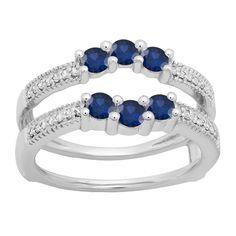 Elora 10k Gold 3/4ct Round Blue Sapphire and White Diamond Wedding Ring (H-I, I1-I2) (Size 7.5, Yellow Gold), Women's