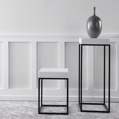 Plant stand or accent table, which would you pick?⠀ Why not both?⠀ Gambia Plant Stand + Gambia Accent Table by @uttermostcompany ⠀ ⠀ A white marble look, atop a simple steel base finished in aged black. Makes the perfect piece for any modern style.⠀ Both are available in store for pick up!  #plantstand #accenttable #accentpiece #furniture #uttermost #table #design #interior4all #finedesign #interiordesign #interiorstyling #lovedesign #homedecor #interiordesigners #interiordecor #interiors