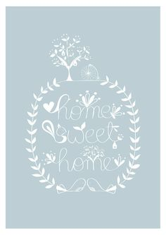 Home Sweet Home Print Blue Bird Illusration Tree by dekanimal, $18.00