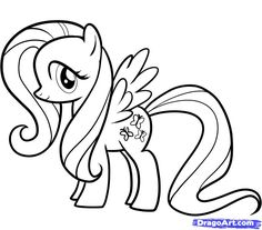 mlp printable coloring pages | How to Draw Fluttershy, My Little Pony, Step by Step, Cartoons ...