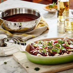 Pulled Pork Mole Enchiladas Recipe from Le Creuset Pork Recipes, Mexican Food Recipes, Dinner Recipes, Cooking Recipes, Healthy Recipes, Ethnic Recipes, Oven Recipes, Mole Enchiladas Recipe, Pulled Pork Enchiladas
