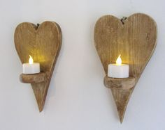 Pair of Reclaimed wood Small Heart shaped LED tea light candle holders wall sconces Wood Tea Light Holder, Tealight Candle Holders, Led Candles, Wooden Puzzles, Easter Crafts For Kids, Creative Decor, Handmade Wooden, Wall Sconces, Wood Crafts