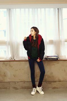Layered Hoodie Pad Jacket | Korean Fashion