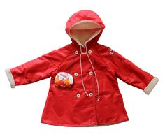 """FRENCH VINTAGE 70's / kids / hooded coat / red colour / brand """" Petit Bateau """" / new old stock / size 2 years  di Prettytidyvintage su Etsy https://www.etsy.com/it/listing/231310654/french-vintage-70s-kids-hooded-coat-red"""