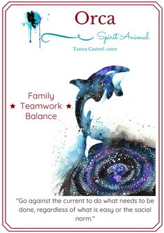 Orca spirit animal symbolism, meaning, dreams and watercolor paintings by Tanya Casteel Spirit Animal Totem, Animal Spirit Guides, Animal Totems, Spirit Animal Tattoo, Animal Meanings, Animal Symbolism, Spiritual Animal, Spiritual Symbols, Native American Zodiac