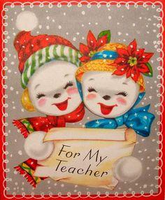 Teacher's Christmas Card. Vintage Christmas Card. Retro Christmas Card. Vintage Snowmen.