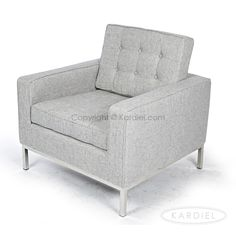 Florence Knoll Style Armchair, Dacite Retrospeck Twill Fabric |