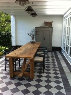 Portugese tegels cm Collectie www. Country Dining Rooms, House, Outdoor Rooms, House Exterior, Porch Flooring, New Homes, Kitchen Style, Rustic Dining Table, Outdoor Flooring