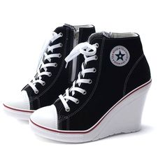 0efc3a17554fae Luckydeliver women Wedge shoes sneakers canvas lace up high top heel shoes