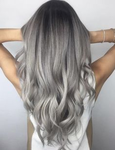 Silver grey hair, ash grey hair, hair inspo, hair inspiration, hair c Grey Ombre Hair, Silver Grey Hair, Blonde Ombre, Ash Grey Hair, Grey Hair Black Roots, Ash Blonde Balayage Silver, Grey Platinum Hair, Grey Dyed Hair, Gray Balayage