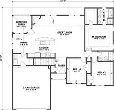 Traditional Style House Plans - 1583 Square Foot Home , 1 Story, 3 Bedroom and 2 Bath, 2 Garage Stalls by Monster House Plans - Plan 21-682