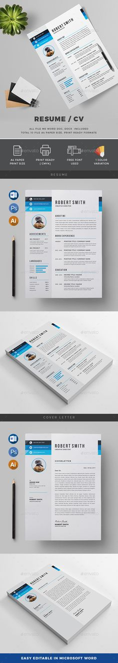 Resume CV by generousart Features of Resume Template Color VersionsA4 Paper Size With Bleeds Quick and easy to customize templatesChange Customize easily i