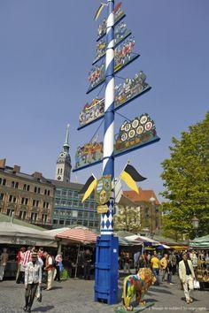 #May pole, Maibaum  #Viktualienmarkt, #Munich, #Bavaria, #Germany