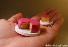 "DIY Tutorial miniature sponge cake. And I mean ""sponge"" cake! #miniatures #dollhouse"