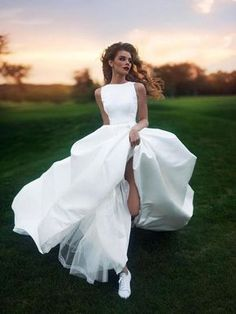 A-line Bateau Floor-length Sleeveless Satin Wedding Dress # VB410