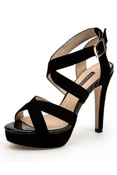 Sandales noires élégantes à brides croisées en suédé talon très haut pour soirée cérémonie Suede, Sandals, Shoes, Fashion, Gray, Shoes For Suits, Moda, Shoes Sandals, Zapatos