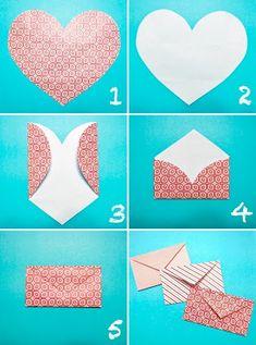 Simple way to make an envelope turkey craft, diy love, heart envelope, fold Diy Paper, Paper Crafts, Paper Clips Diy, Diy Love, Fun Diy, Easy Diy, Simple Diy, Super Simple, Heart Envelope