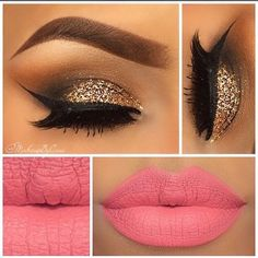 Valentine's Day Makeup Ideas: Soft Pink Smokey Eyes & Glitter Eyeliner with Glittery Pink Ombre Lips Virginia Alanis Pink Smokey Eye, Smokey Eyes, Eye Makeup, Kiss Makeup, Makeup Kit, Hair Makeup, Glitter Eyeliner, Gorgeous Makeup, Pretty Makeup