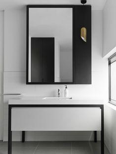 Home Interior Illustration tall statement mirror (shift black panel and light to left) - Mim Design Studio, Melbourne Office Bathroom, Bathroom Spa, Bathroom Toilets, White Bathroom, Modern Bathroom, Bathroom Ideas, Mim Design, Bath Design, Bathroom Furniture