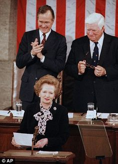 US President George Bush Sr and British Prime Minister Margaret Thatcher outside 10 Downing Street, London in 1989 and in 1985 in front of a joint session of Congress when Bush was vice-president American Presidents, Us Presidents, Margaret Thatcher Quotes, Big Hair Bands, The Iron Lady, Presidential History, British Prime Ministers, Extraordinary People, Save The Day