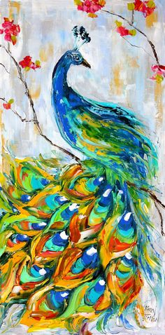 Original Peacock Bird PALETTE KNIFE painting by Karensfineart