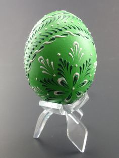 Easter Pysanka in Green Hand Painted Chicken Egg Wax by EggstrArt