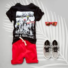 'Got a probllama?' | Boys' fashion | Kids' clothes | Graphic tee | Shorts | Sneakers | Retro sunglasses | The Children's Place