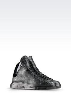 HIGH TOP SNEAKER IN CROC PRINT CALFSKIN: High-top sneakers Men by Armani - 0