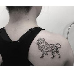 This geometric constellation lion tattoo idea is so cool for a Leo.