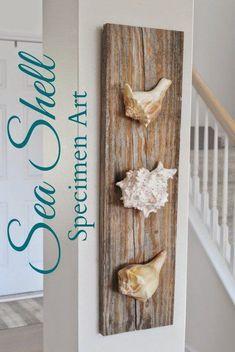 19 affascinanti fai da te costiere pareti decorate per aggiornare il vostro arredamento Seashell Art, Seashell Crafts, Beach Crafts, Sand Crafts, Stick Crafts, Summer Crafts, Felt Crafts, Diy Home Decor Rustic, Coastal Decor