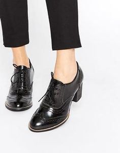 f3ac7ed9fbd6ab Park Lane Brogue Leather Heeled Shoes Budapester Schuhe Damen