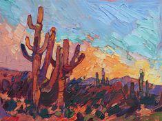 Desert landscape painting of Saguaro cactus in gold carved frame, oil painting by impressionist artist Erin Hanson Landscape Drawings, Landscape Paintings, Oil Paintings, Painting Inspiration, Art Inspo, Cactus Painting, Impressionist Artists, Pretty Art, Desert Landscape
