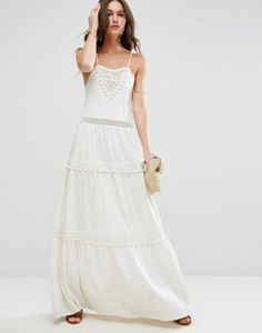 ASOS Maxi Dress with Lace Inserts & Pom Poms