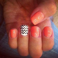 Nails #orange #chevron