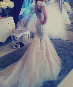 #gorgeous #Pretty #cute #dress #gown #wedding #bridal #tulle #lace #mermaid