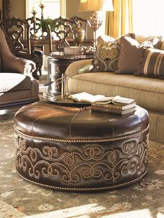 Florentino Giardini Leather Cocktail Ottoman with Scrolled Nailhead Stud Design by Lexington at Becker Furniture World Lexington Home, Decor, Ottoman, Home, Leather Cocktail Ottoman, Tuscan Decorating, Western Home Decor, Home Decor, Furniture Decor