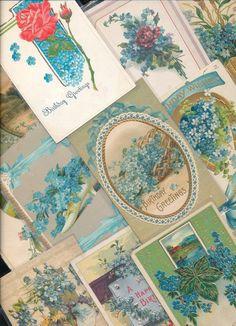 Nice Lot of ~25 VICTORIAN FORGET-ME-NOTS blue FLOWERS greetings Postcards-ttt935 #greetings