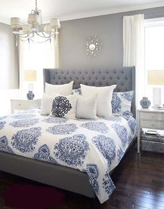 Gray bedroom decor purple and gray master bedroom ideas bedroom ideas gray blue and gray bedroom . Bedding Master Bedroom, Master Bedroom Design, Cozy Bedroom, Dream Bedroom, Gray Bedding, Master Bedrooms, Bedroom Designs, Luxury Bedrooms, Trendy Bedroom
