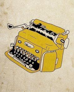 Grunge Typewriter - Pen and Ink Illustration ~ NanLawson @ etsy Love Illustration, Ink Illustrations, Vintage Typewriters, Mellow Yellow, Book Worms, Art Prints, Drawings, Artwork, Typewriter Tattoo